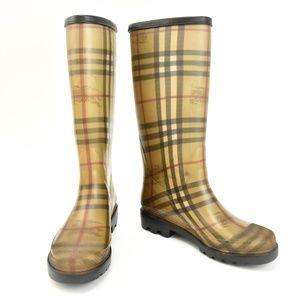 BURBERRY Beige Nova Check Rain Boots